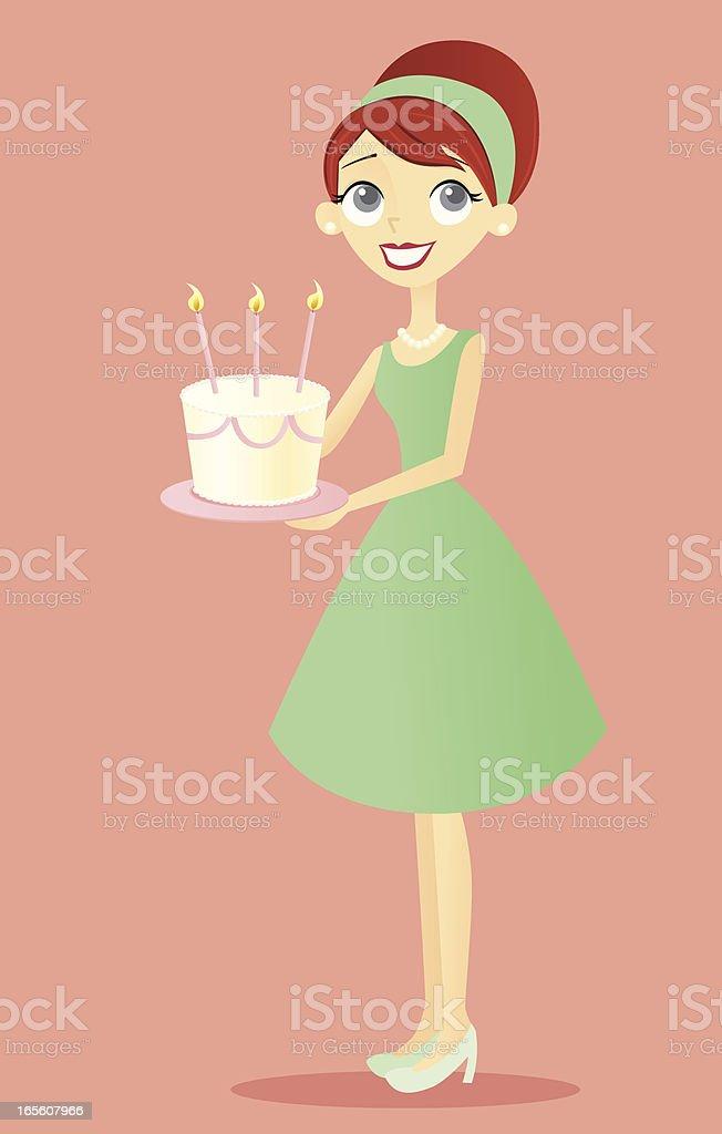 Woman with Birthday Cake vector art illustration