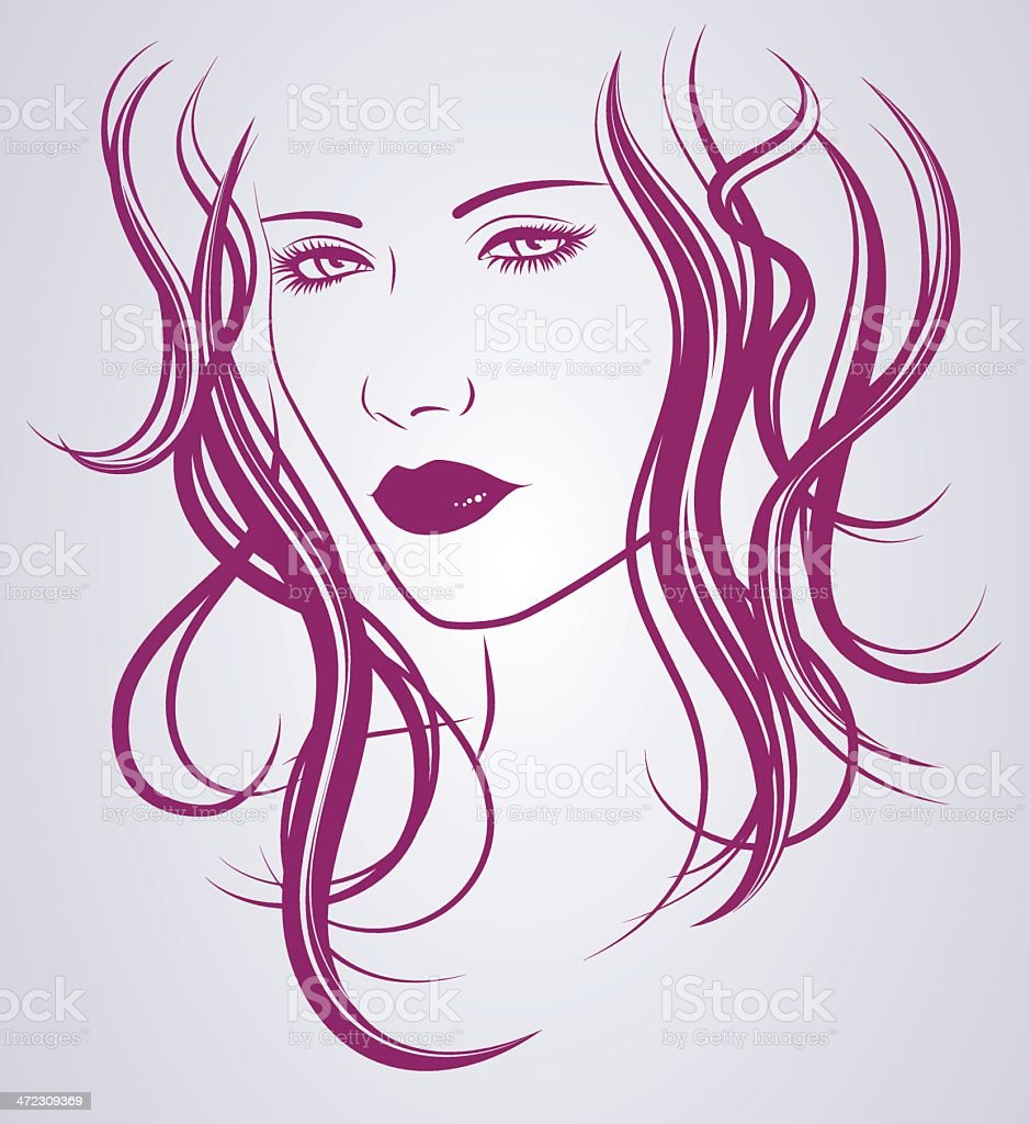 Woman with black curly hair vector art illustration