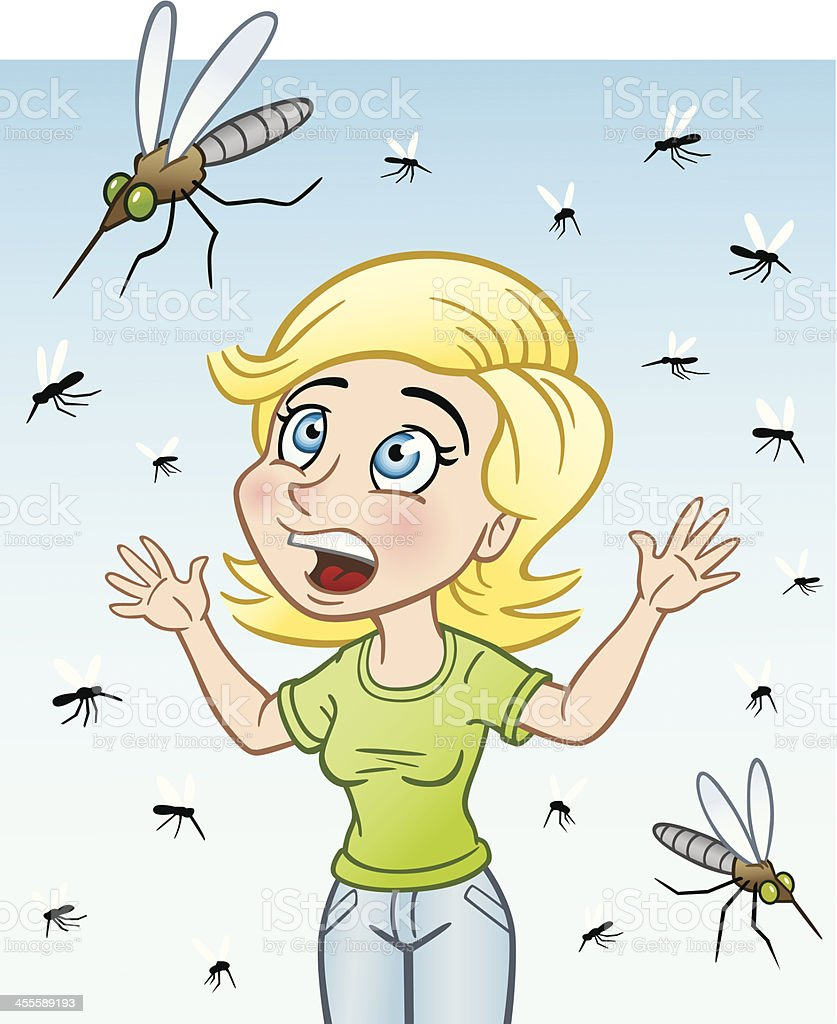 Woman With Bug Invasion vector art illustration