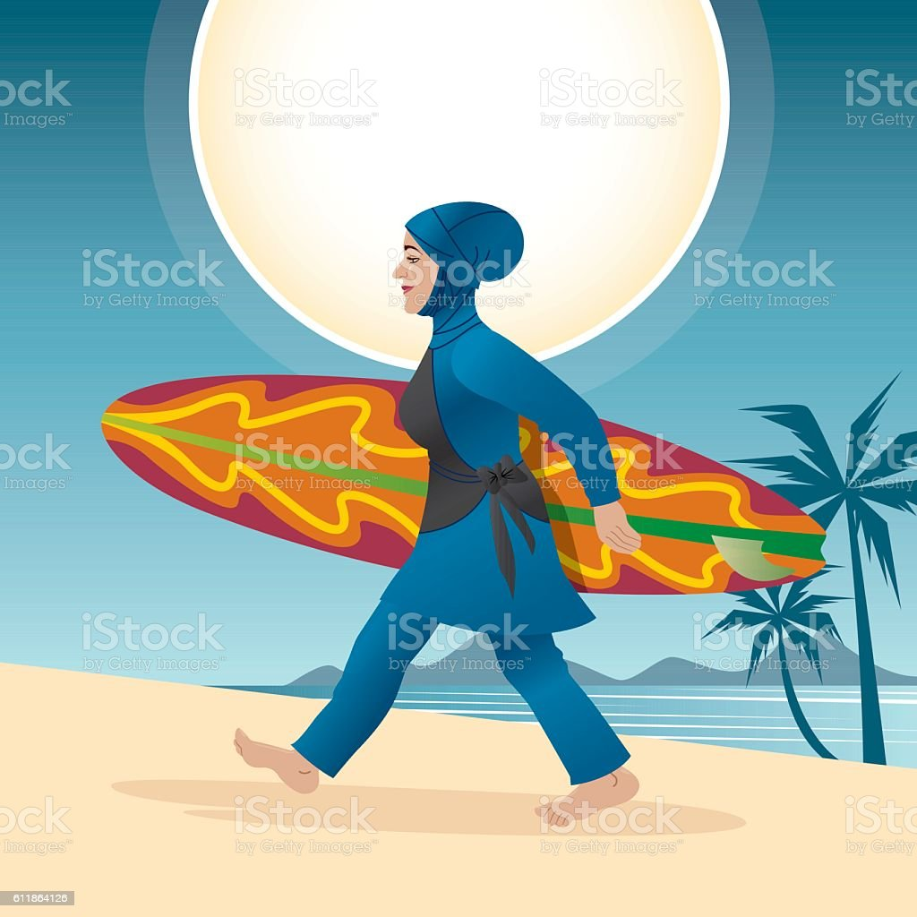 Woman With Burqini holding Surfboard vector art illustration