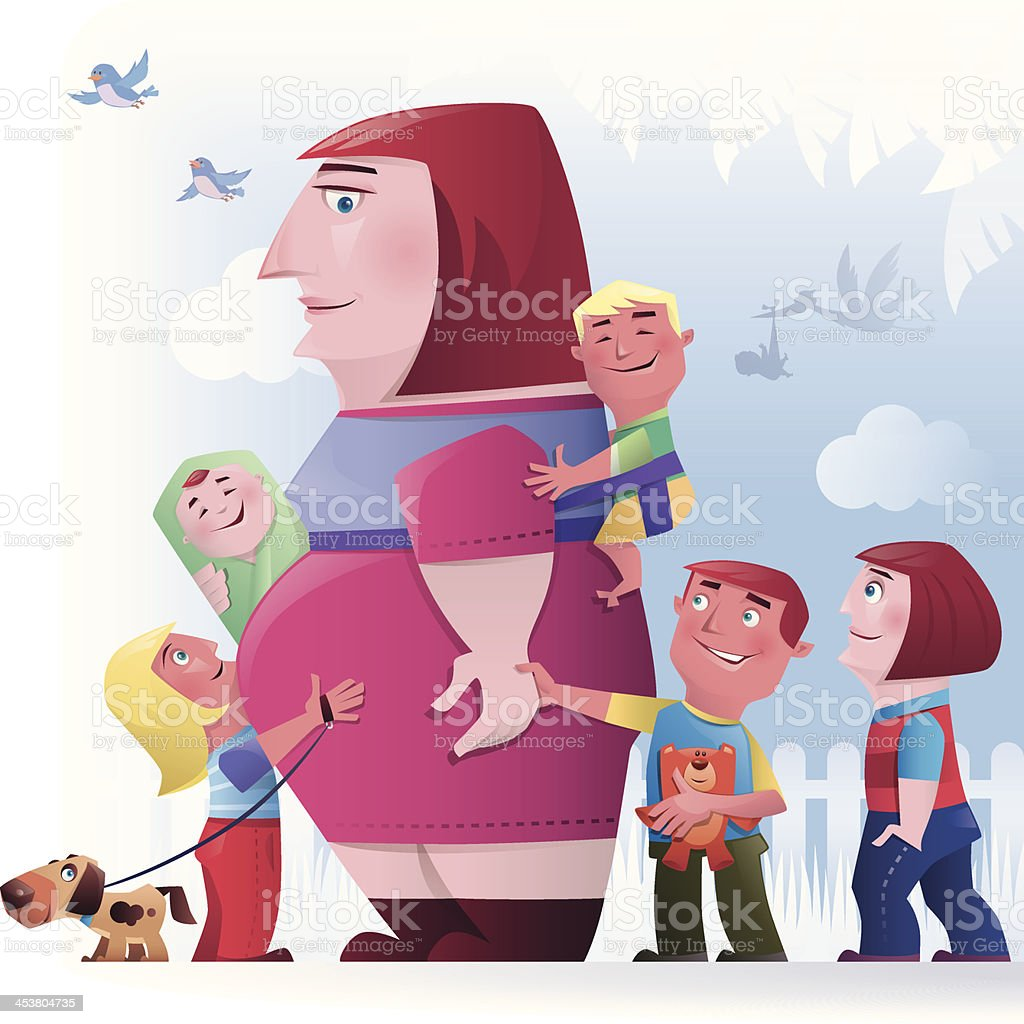 woman with children vector art illustration