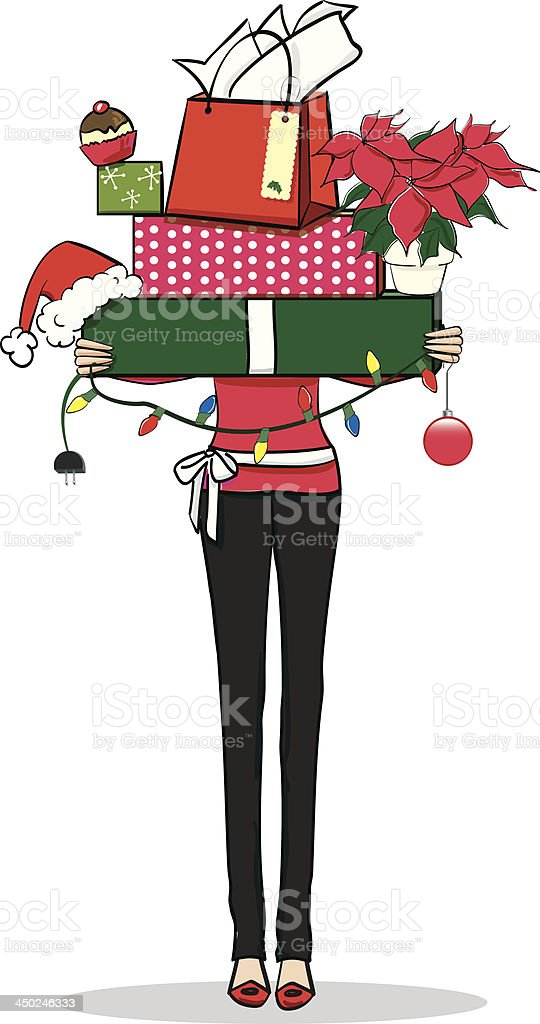 Woman with Christmas presents vector art illustration