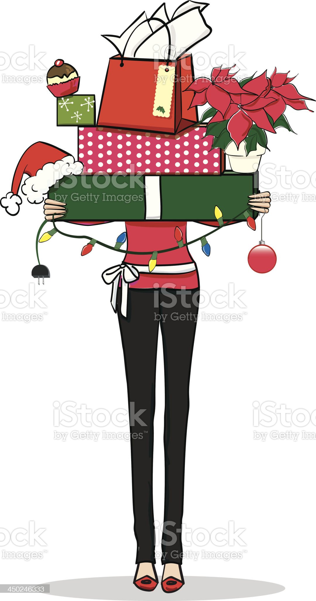 Woman with Christmas presents royalty-free stock vector art