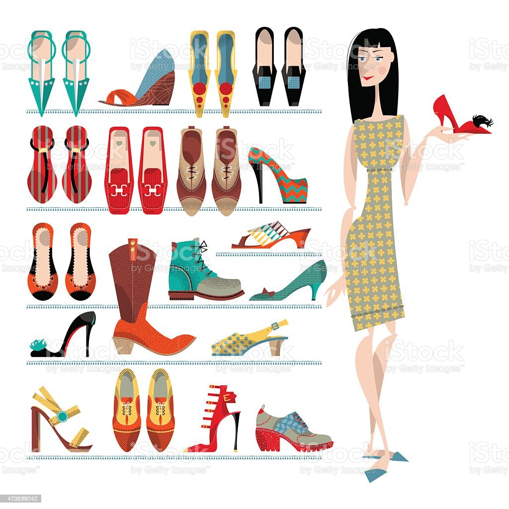 Woman with collection of  shoes on white background. Shopping Time. vector art illustration