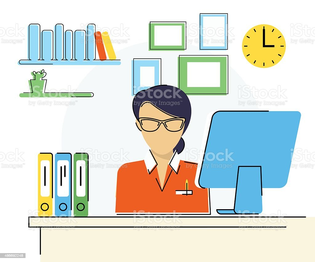 Woman with computer vector art illustration