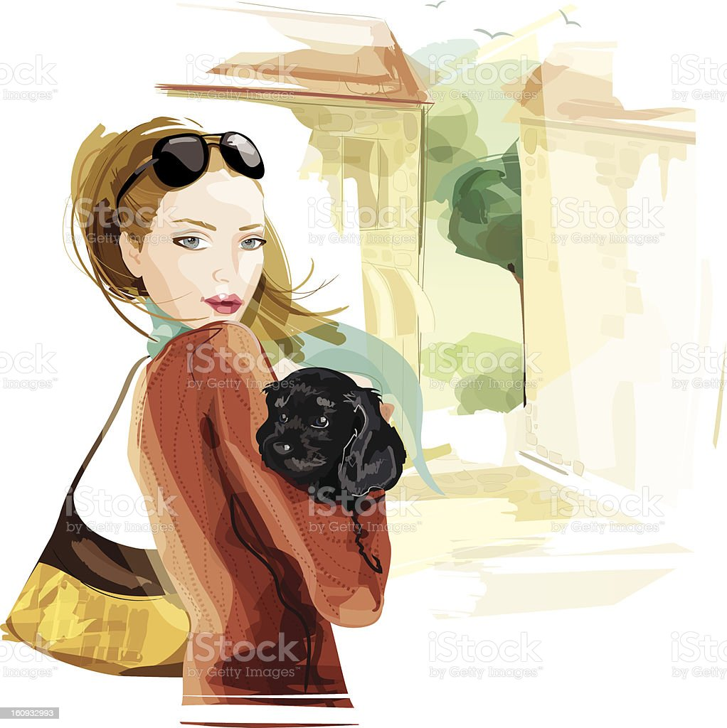 Woman with Dog vector art illustration
