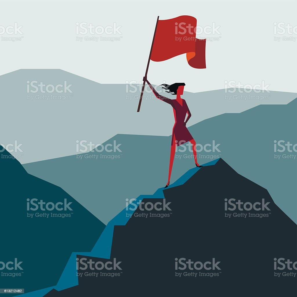 Woman with flag on a Mountain peak vector art illustration