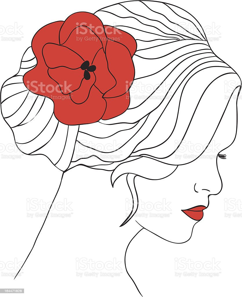 Woman with flower in hair royalty-free stock vector art