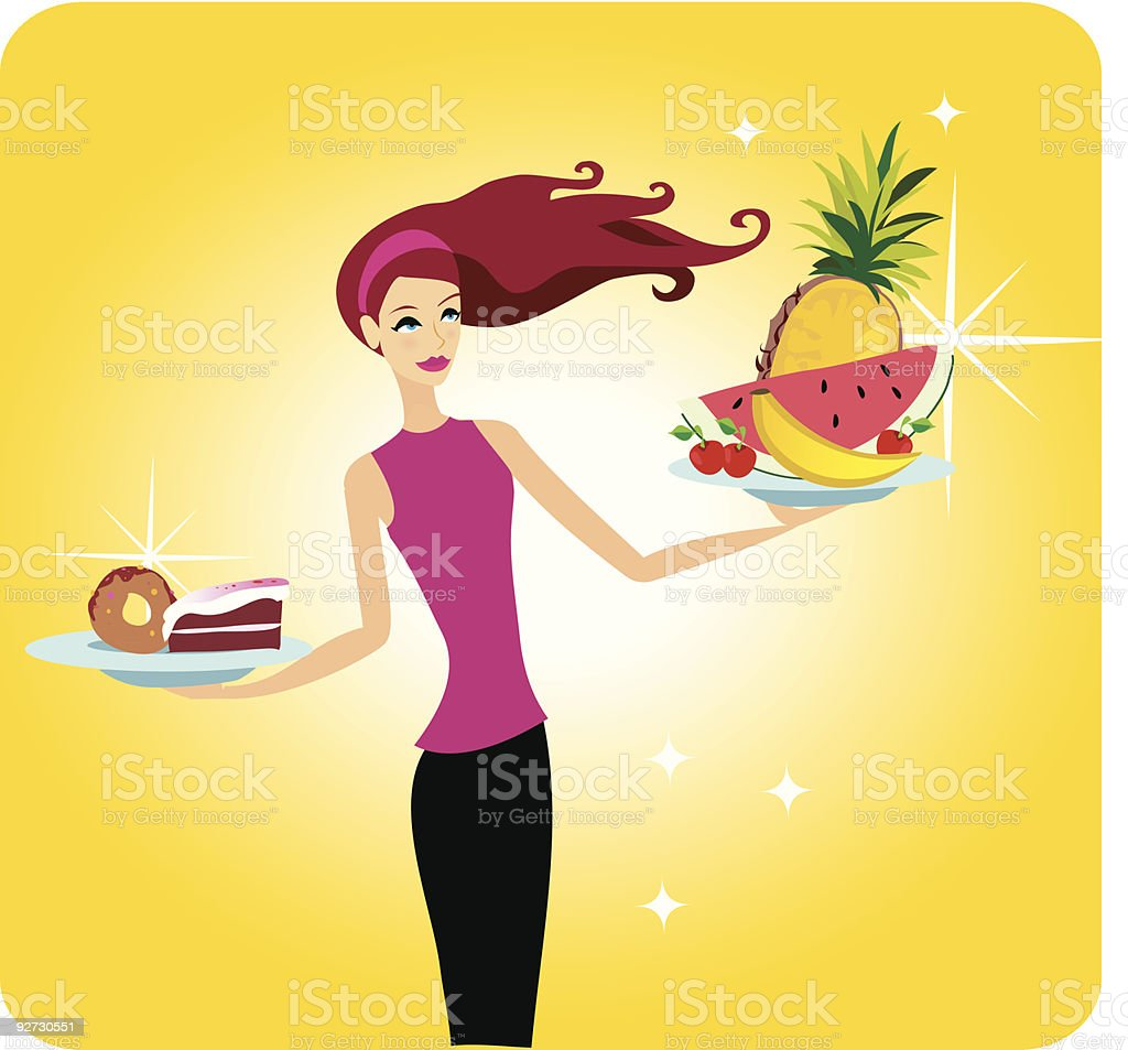 Woman with fruit and dessert plates royalty-free stock vector art