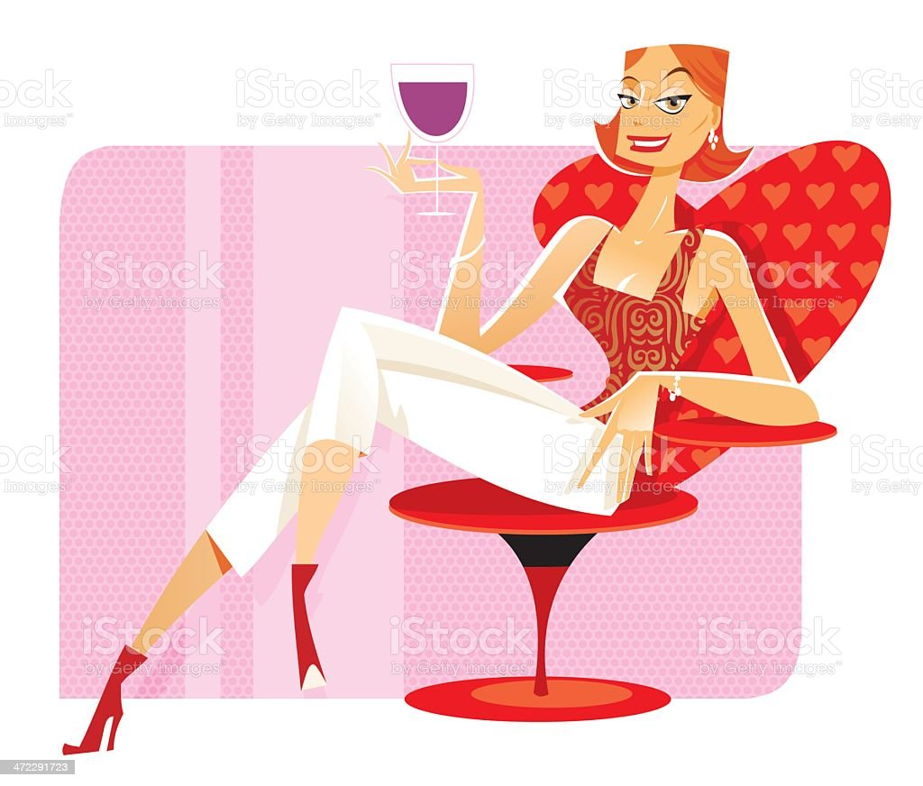 Woman with glass red wine royalty-free stock vector art