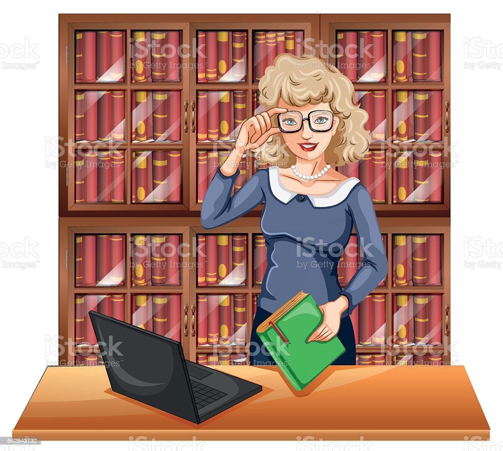Woman with glasses in the library vector art illustration