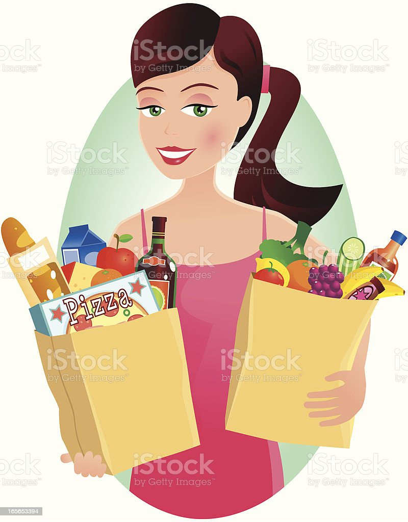 Woman with grocery shopping in paper bags vector art illustration