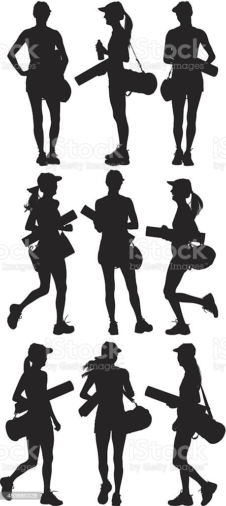 Woman with gym bag and exercising mat vector art illustration