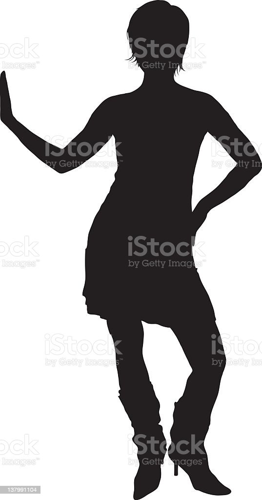 Woman with hand resting against something vector art illustration