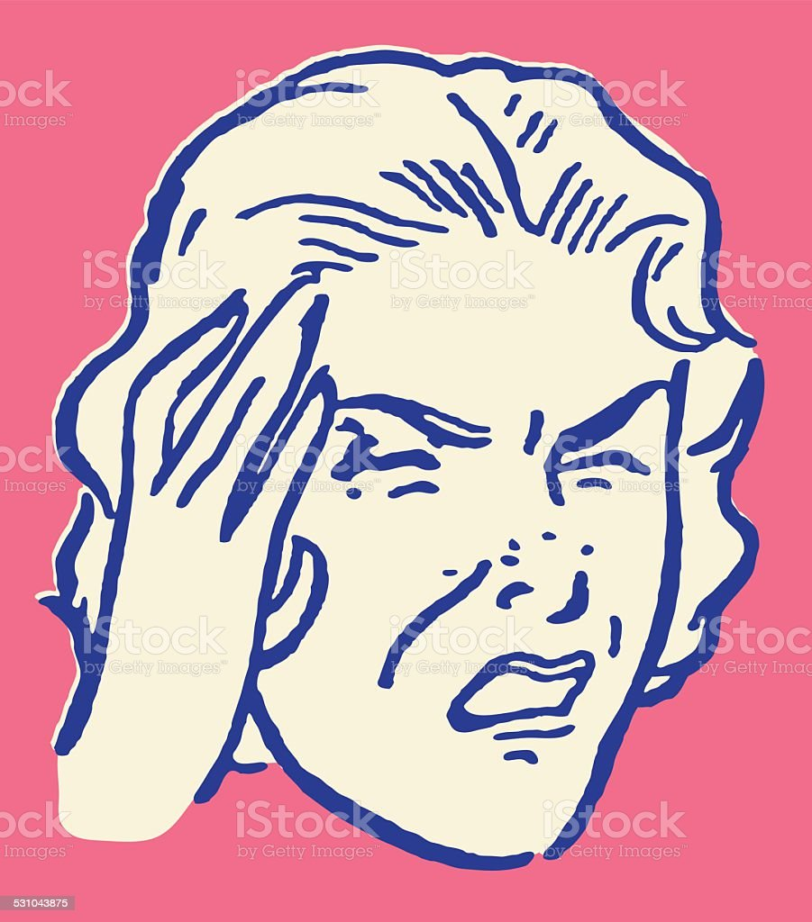 Woman with Headache and Hand to Head vector art illustration