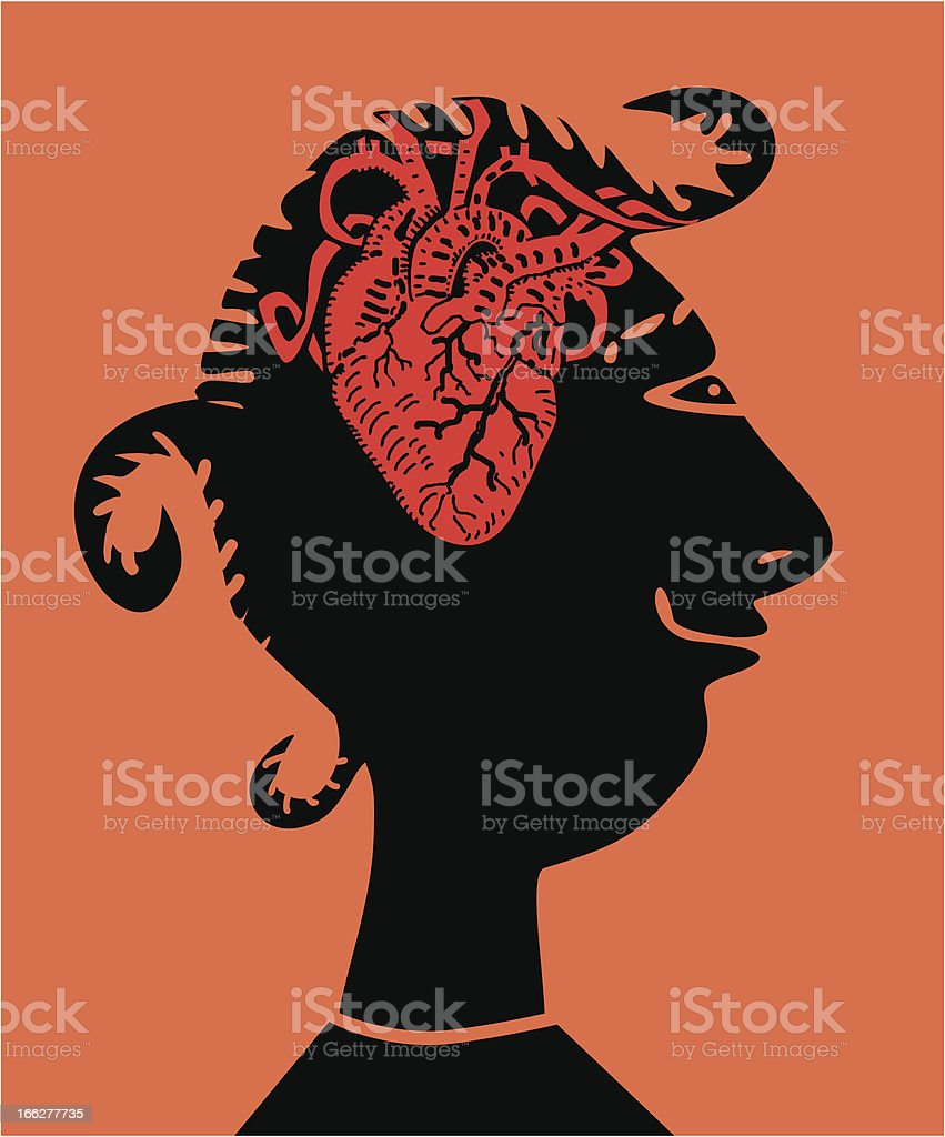 Woman with heart inside head royalty-free stock vector art