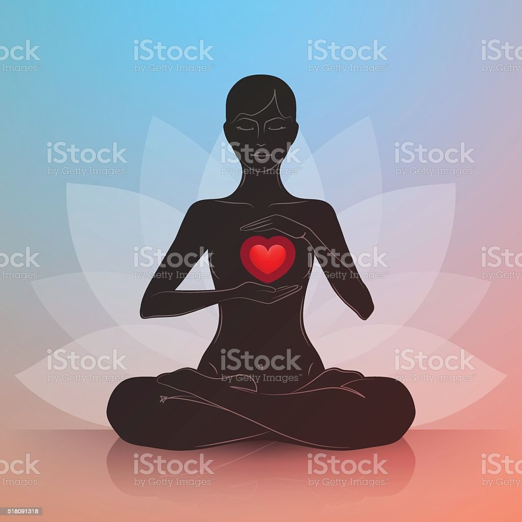 Woman with heart. Lotus position vector art illustration