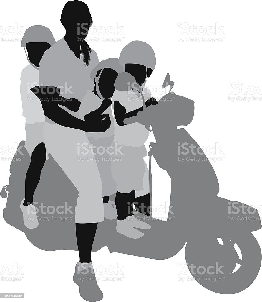 Woman with her children sitting on a scooter royalty-free stock vector art