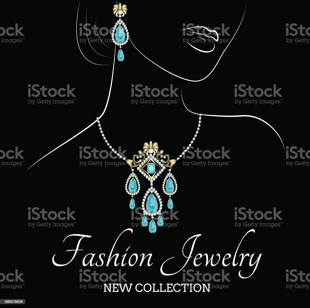 Woman with jewelry vector art illustration