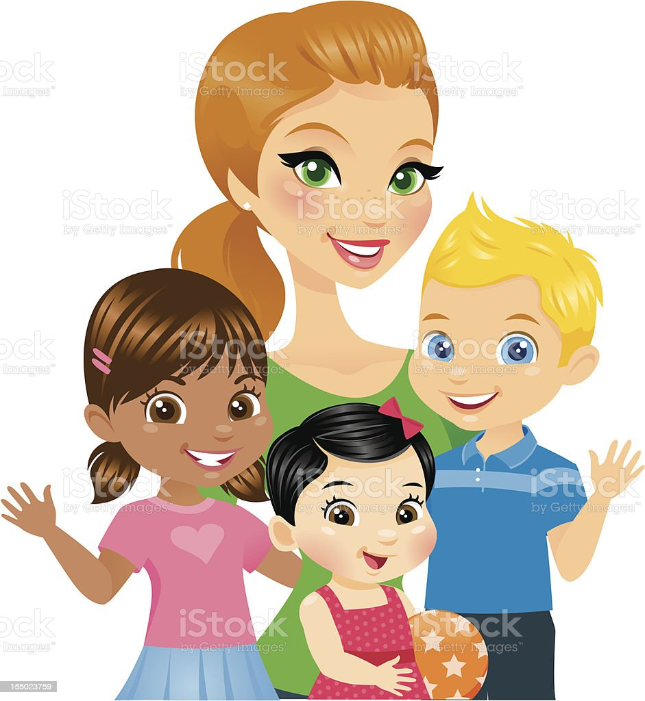 Woman with Kids vector art illustration