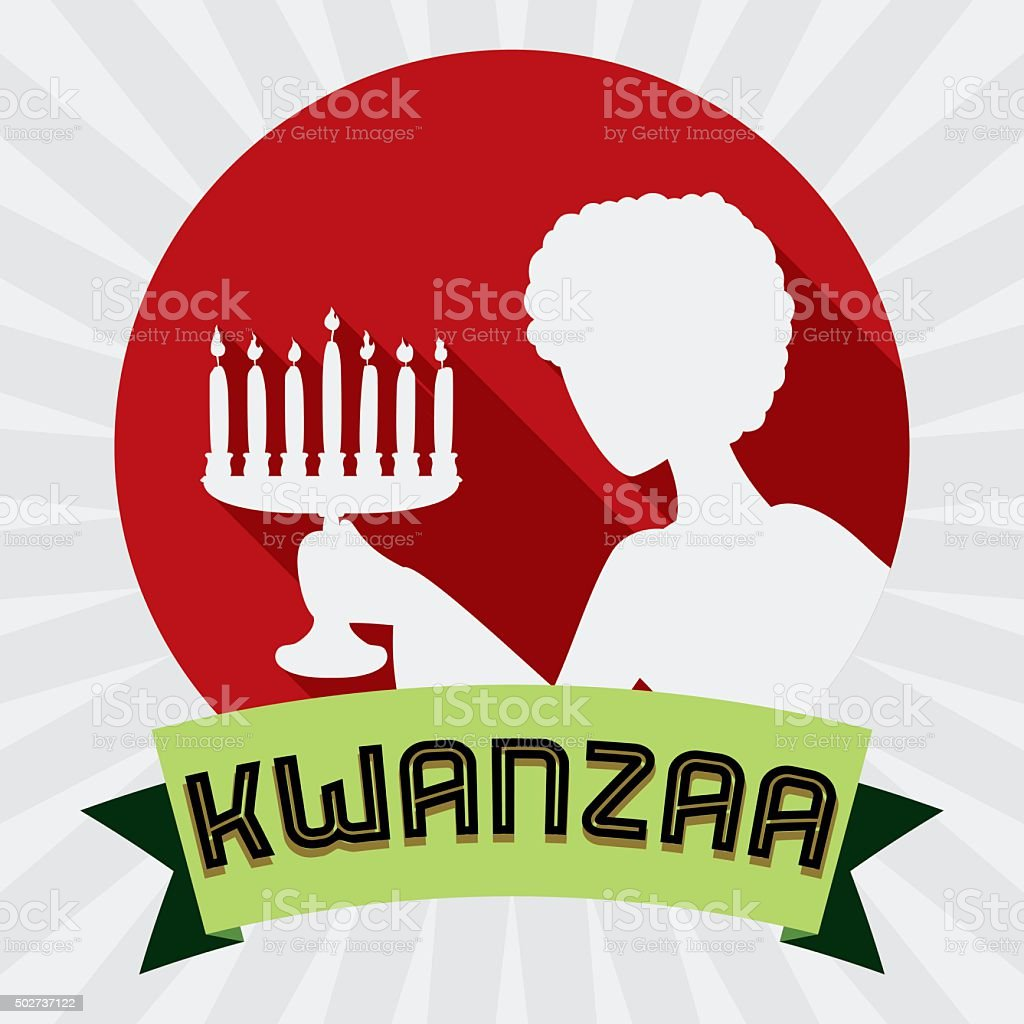 Woman with Kinara Silhouette in Kwanzaa Icon. vector art illustration