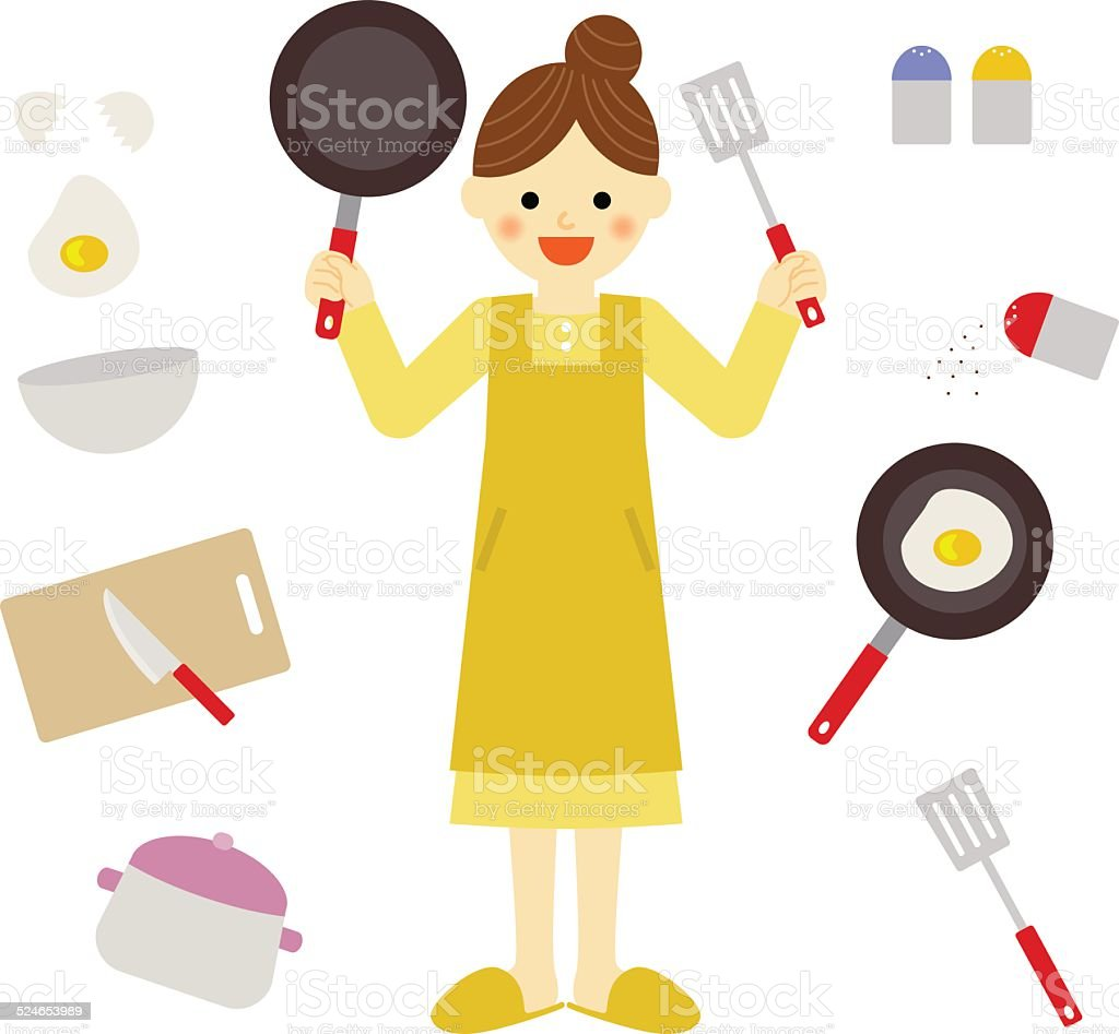 woman with kitchen items vector art illustration
