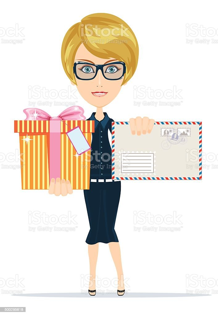Woman with letter and presents vector art illustration