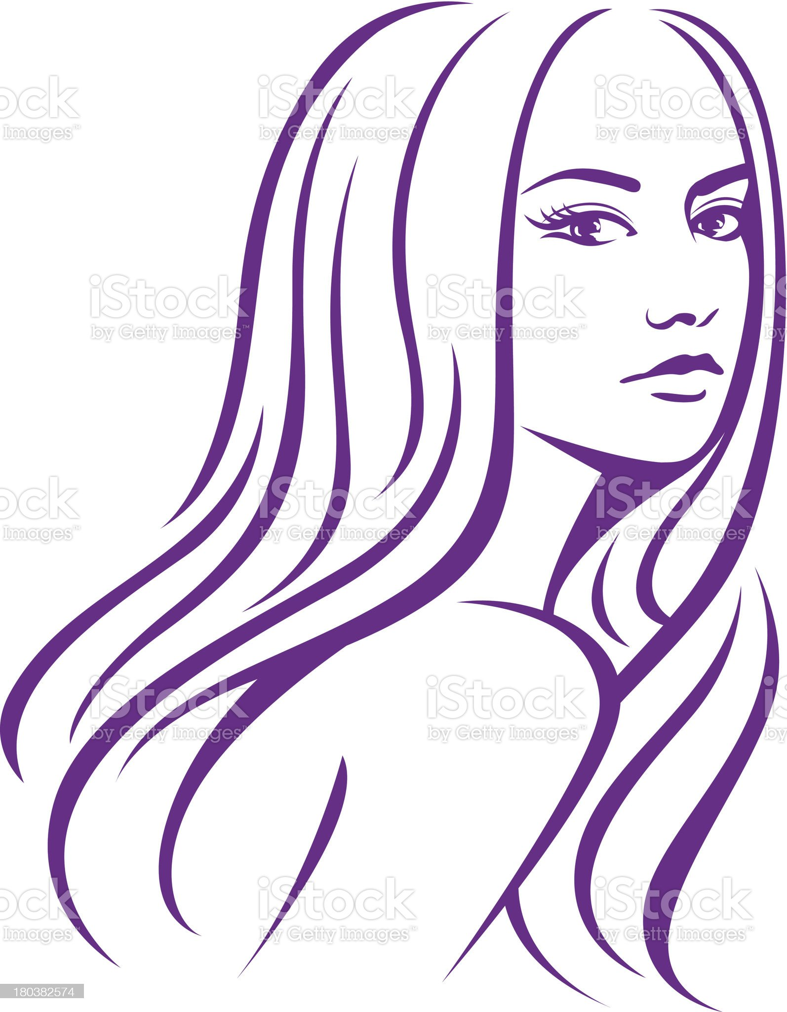 woman with long hair illustration royalty-free stock vector art