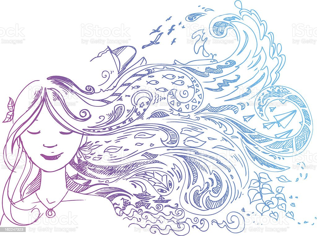 Woman with long hair royalty-free stock vector art