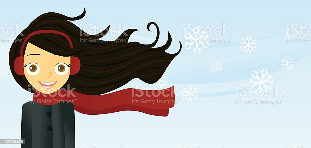 Woman with Long Hair (Winter) vector art illustration