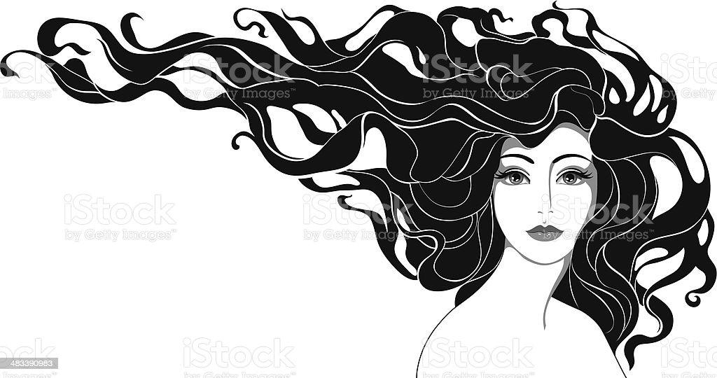 woman with long hair vector art illustration