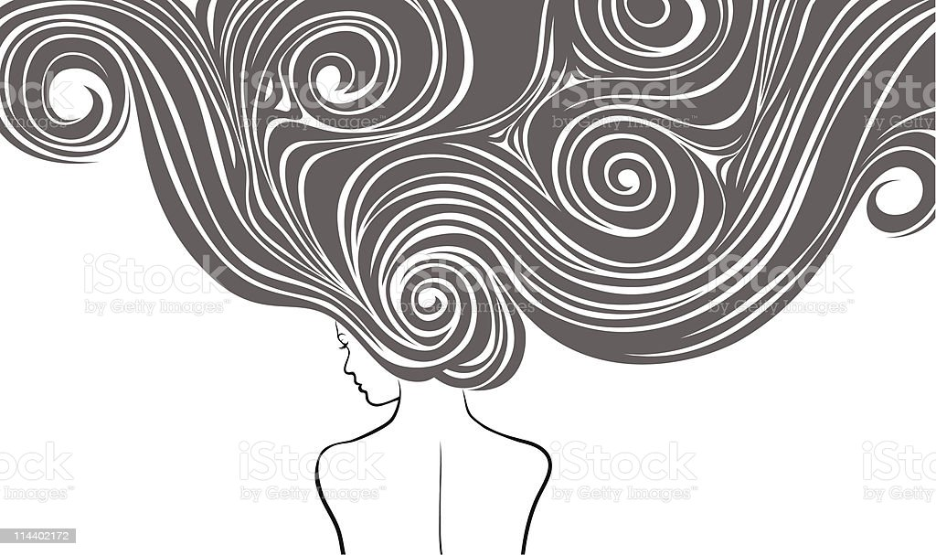 Woman with long hairs royalty-free stock vector art