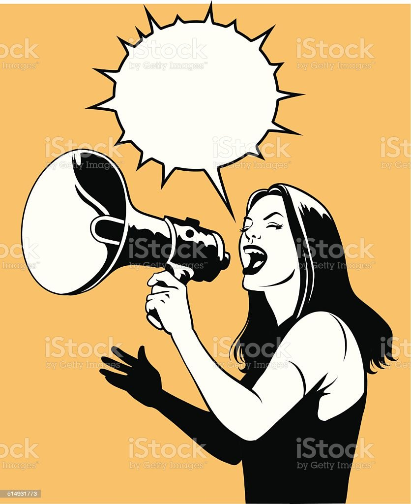 Woman With Loud Speaker in Black and White vector art illustration