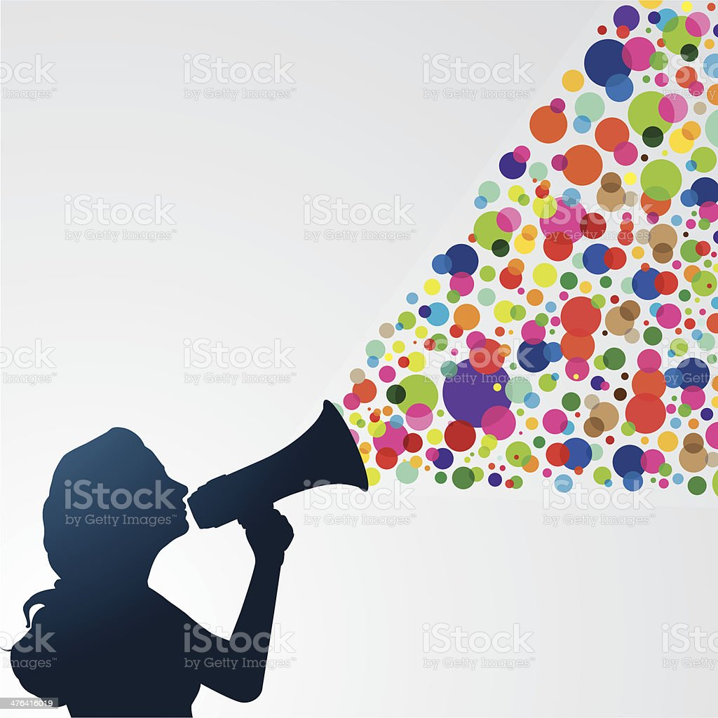 Woman with megaphone vector art illustration