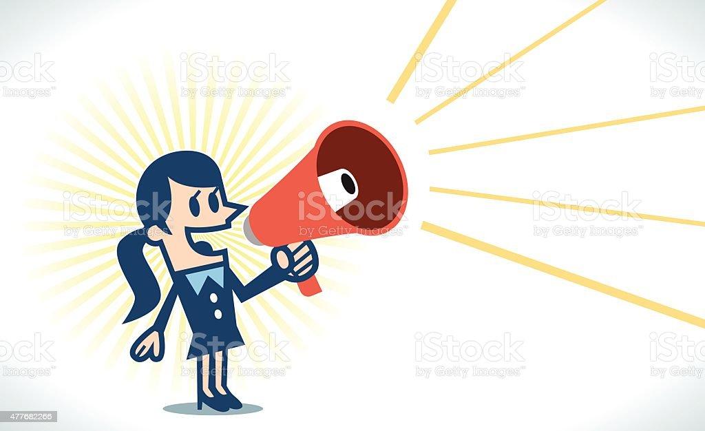 Woman with megaphone vector art illustration