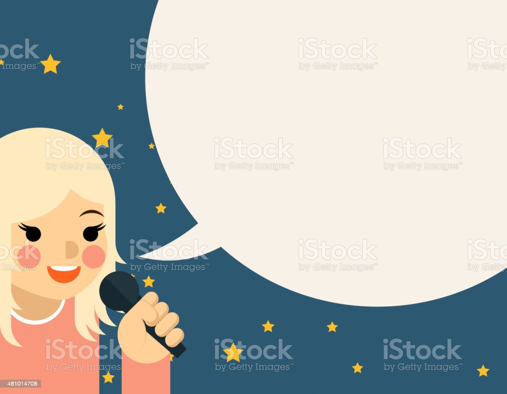 Woman with microphone vector art illustration