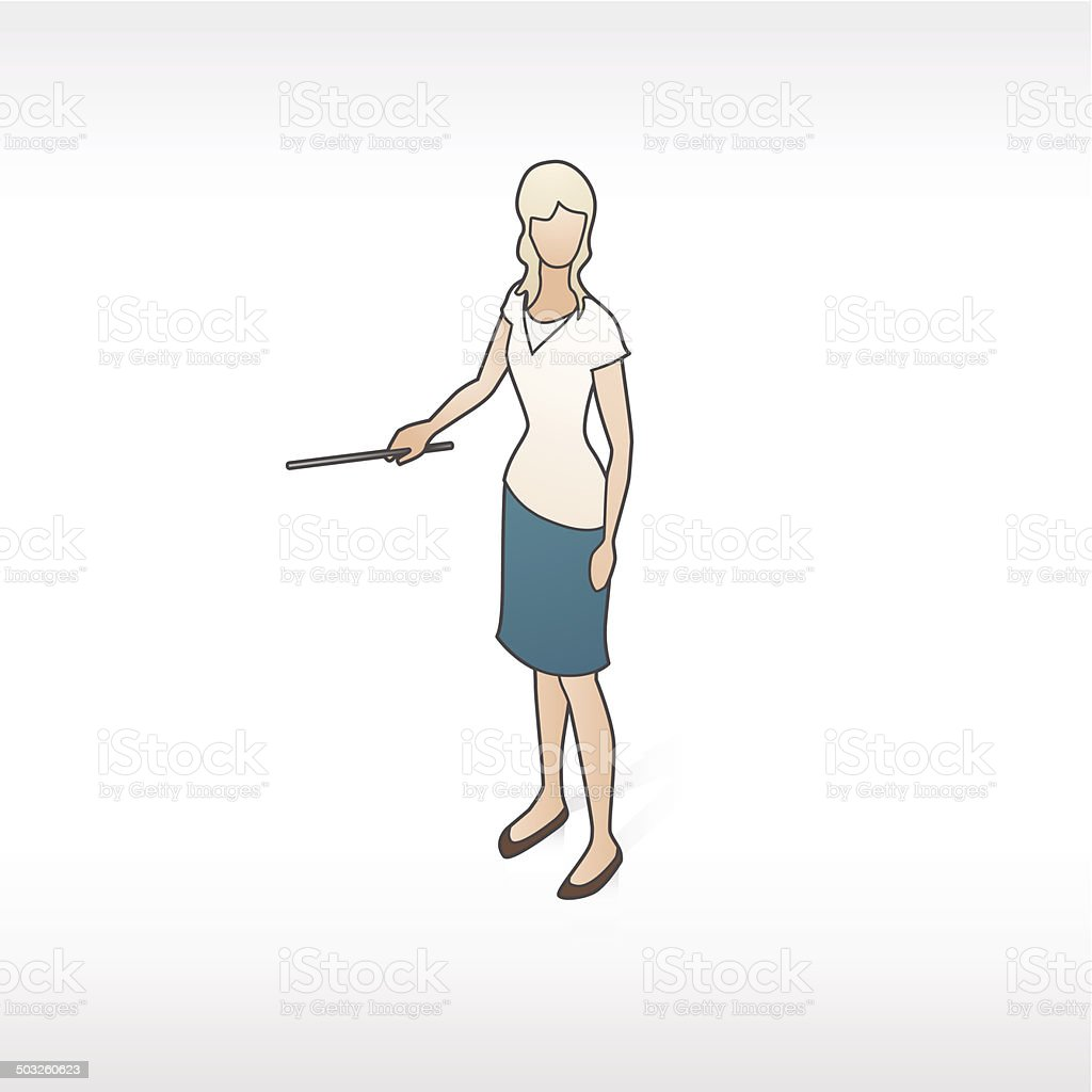 Woman With Pointer Illustration royalty-free stock vector art