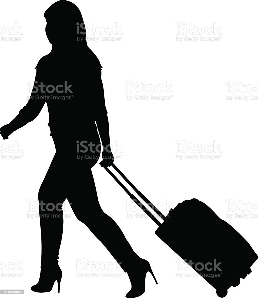 Woman with Rolling Suitcase Silhouette vector art illustration