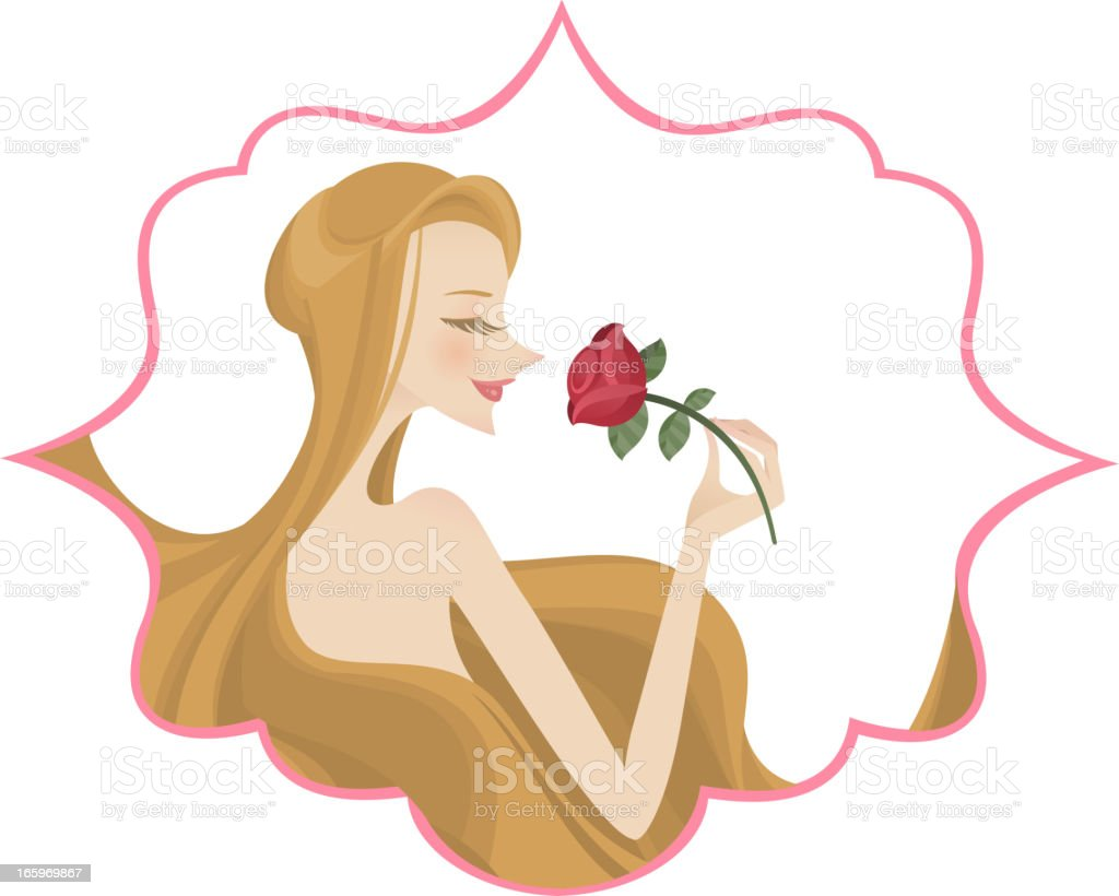 Woman with rose gift royalty-free stock vector art