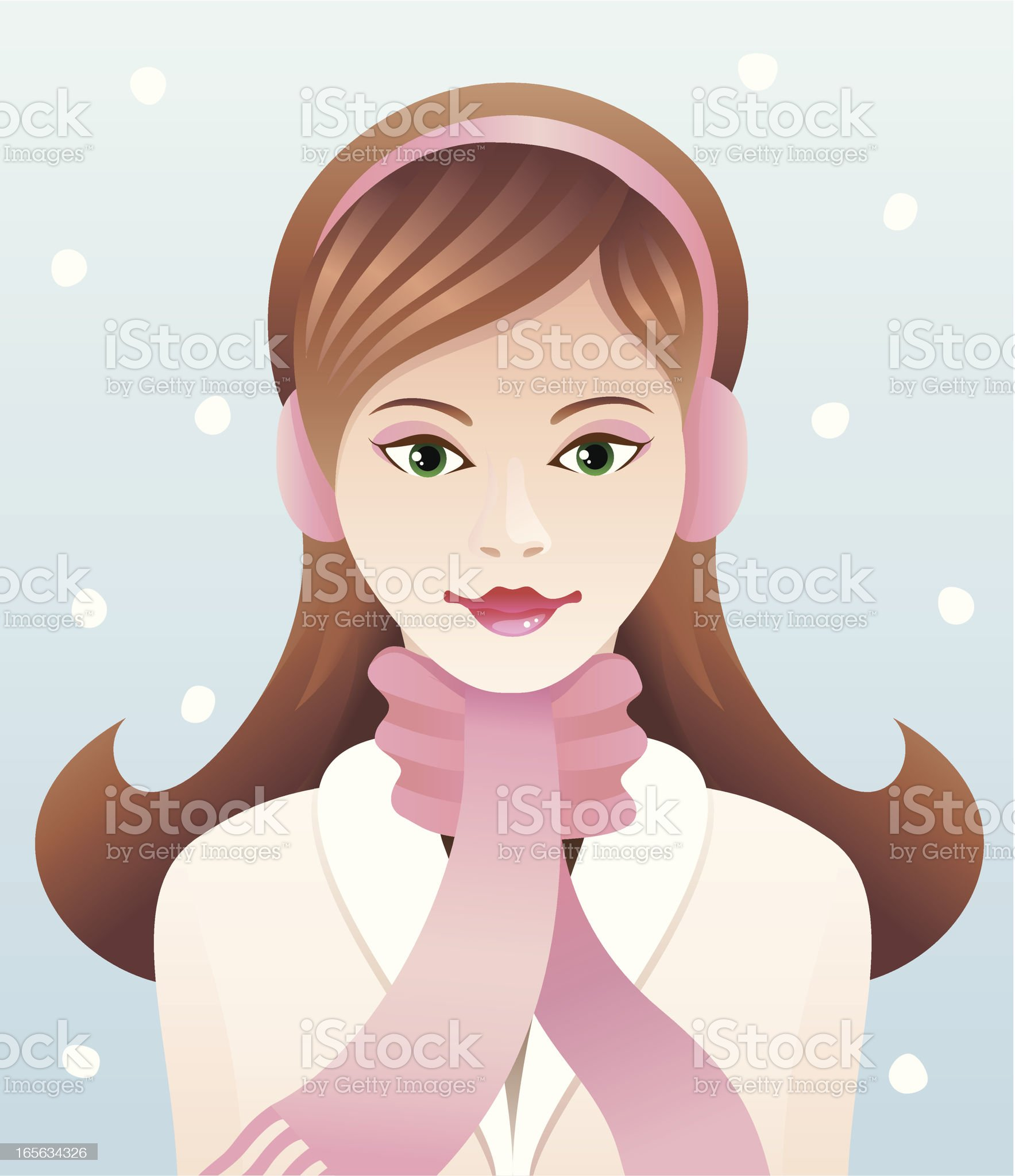 Woman with scarf royalty-free stock vector art
