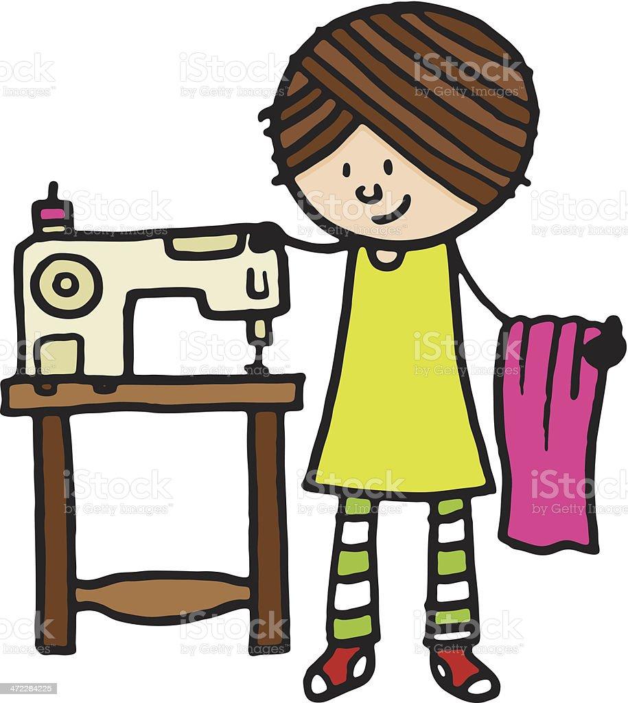 Frau Mit Nähmaschine Vektor Illustration 472284225  iStock -> Nähmaschine Nadel Bewegt Sich Nicht