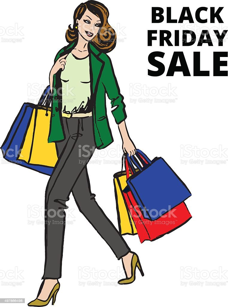 woman with shopping bag vector art illustration