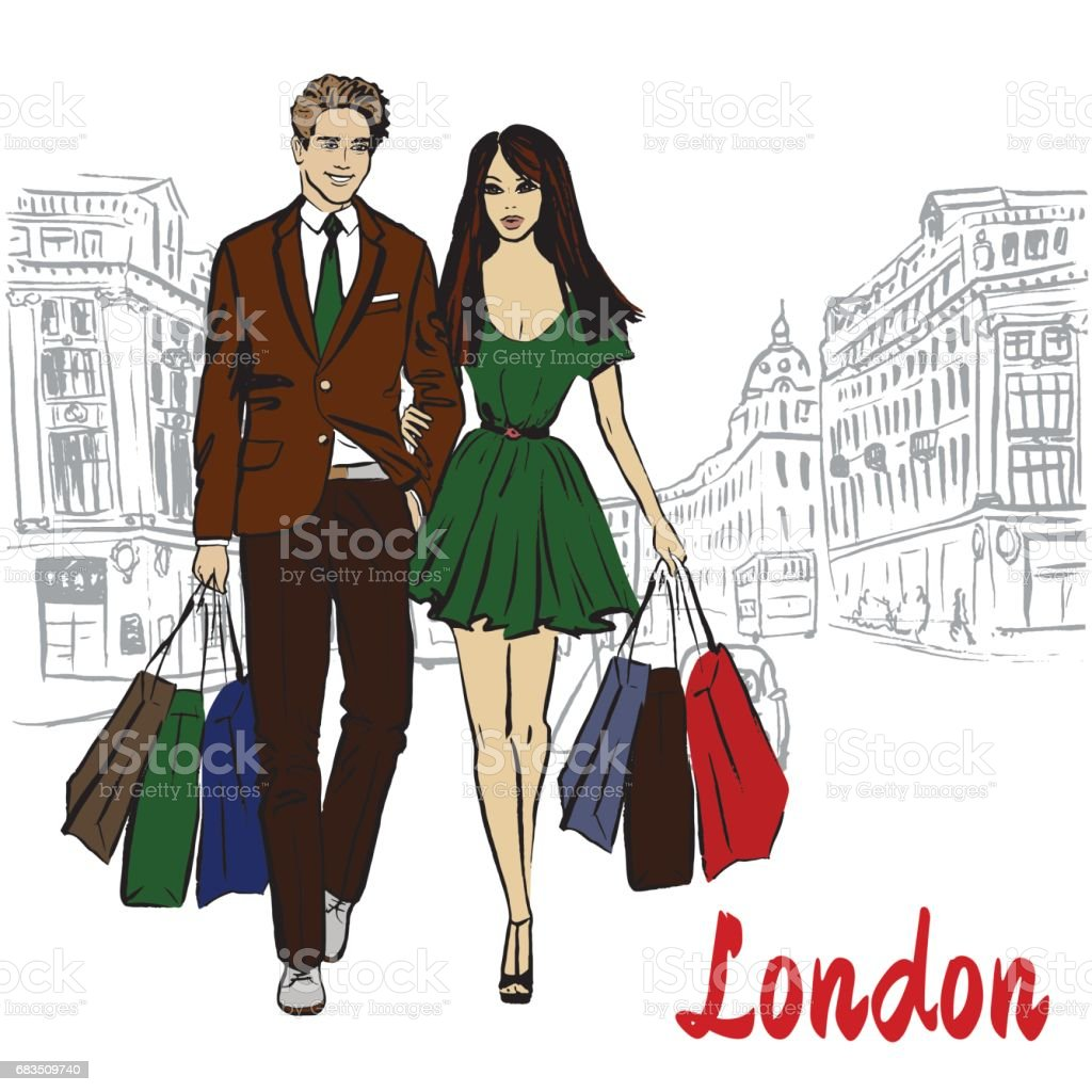 woman with shopping bags vector art illustration