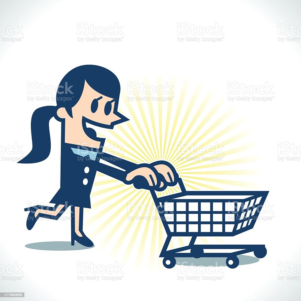Woman with shopping cart vector art illustration
