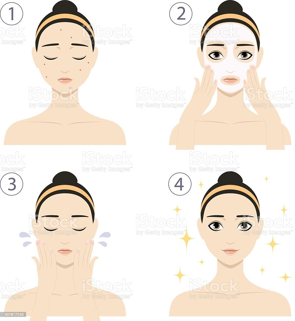 Woman with skin problems wash her face vector art illustration