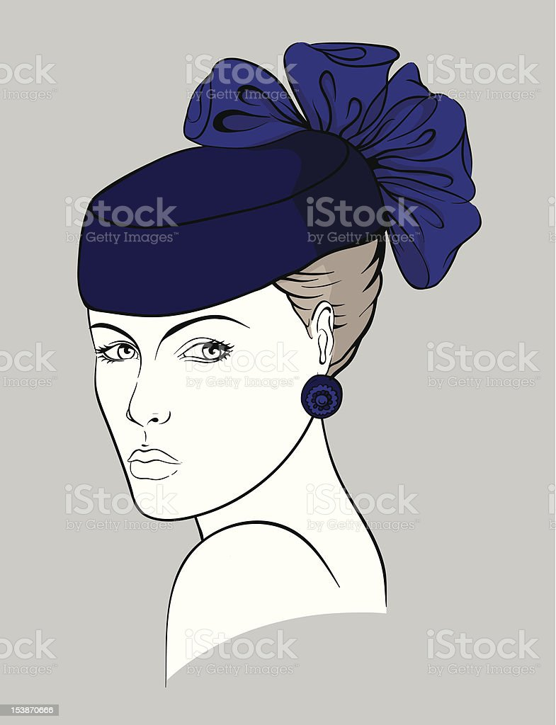 Woman with small purple hat royalty-free stock vector art