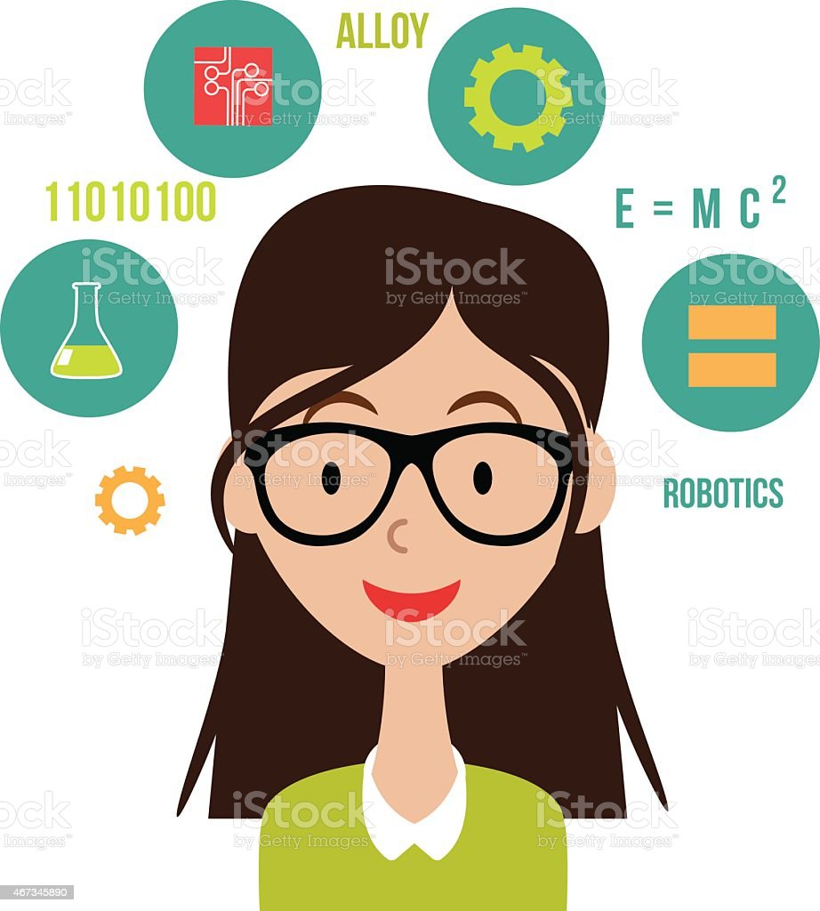 Woman with STEM icons flat design EPS10 vector vector art illustration