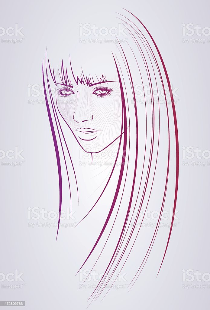 Woman with straight long hair royalty-free stock vector art