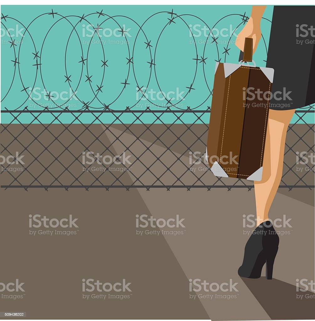 Woman with suitcase confronted by barbed wire fence vector art illustration