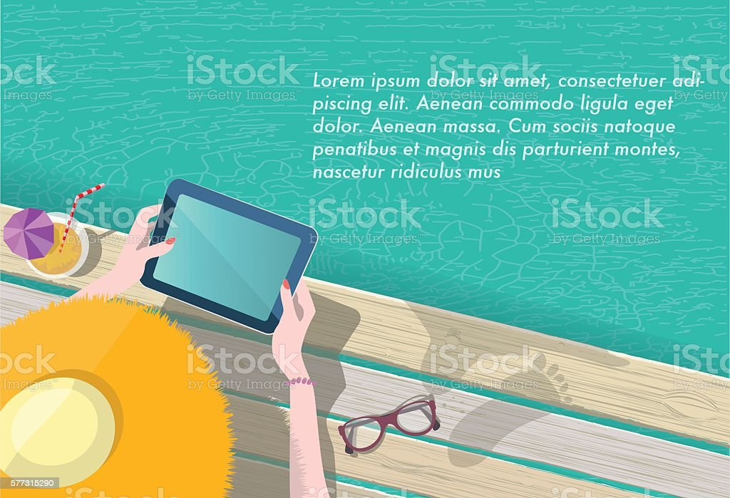 woman with summer hat reading on tablet at pool vector art illustration